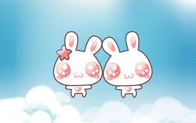 可爱背景图片 两只可爱的卡通小兔子ppt背景图片